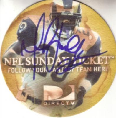 Marshall Faulk autographed St. Louis Rams 2003 NFL Sunday Ticket promo coaster