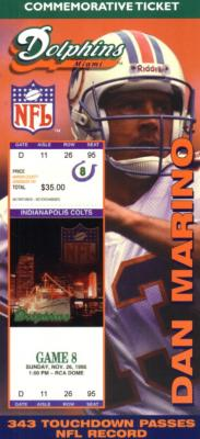 Dan Marino Miami Dolphins Career TD Pass 343 commemorative ticket