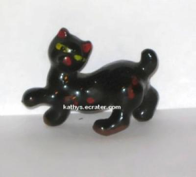 Pottery Bob Cat Redware Black Glaze Animal Figurine