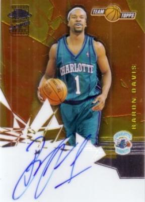 Baron Davis certified autograph Hornets 2002 Topps Chrome card