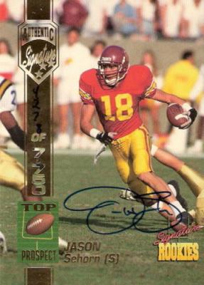 Jason Sehorn USC 1994 Signature Rookies certified autograph card