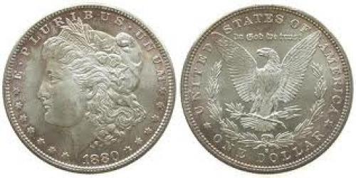 Coins; USA Ag Morgan, S (San Francisco), kleine Randfehler 1 Dollar 1880