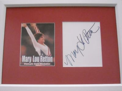 Mary Lou Retton autograph matted &amp; framed with photo card