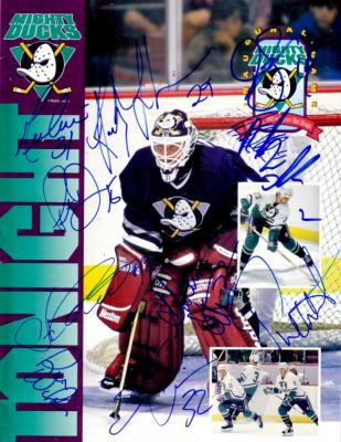 1993-94 Anaheim Mighty Ducks team autographed Inaugural Game program (Guy Hebert)