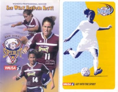 2002 & 2003 WUSA San Diego Spirit pocket schedules
