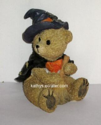 Resin Halloween Witch Teddy Bear Animal Figurine