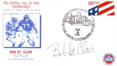 Bob St. Clair (49ers) autographed 1990 Hall of Fame Induction cachet