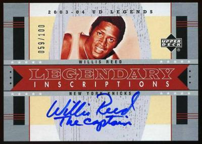 Willis Reed certified autograph New York Knicks Upper Deck Legendary Inscriptions card