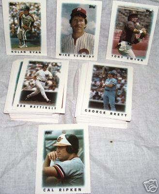 1986 Topps Mini League Leaders 66 card set (George Brett Cal Ripken Nolan Ryan)