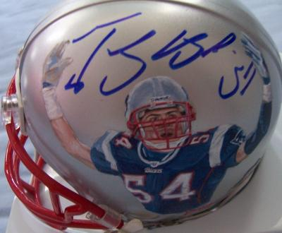 Tedy Bruschi autographed New England Patriots mini helmet painted by Jolene Jessie (1/1)