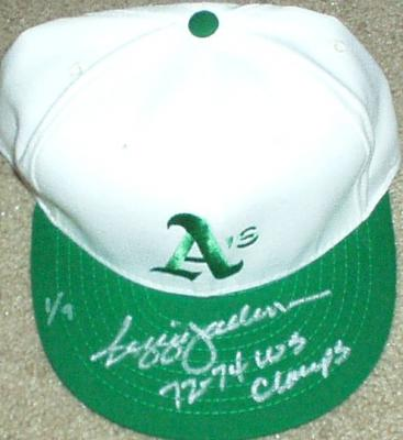 Reggie Jackson autographed Oakland A's authentic cap inscribed 72-74 WS Champs ltd. 9
