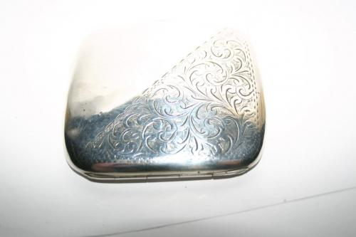 Antique Solid Silver Hallmarked Birmingham E.E.T 1907 Cigarette Case
