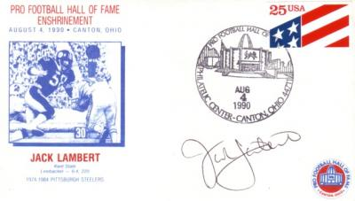 Jack Lambert (Pittsburgh Steelers) autographed 1990 Pro Football Hall of Fame cachet