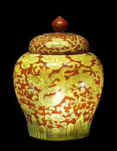 Antique Asian; Dragon Porcelain Vase