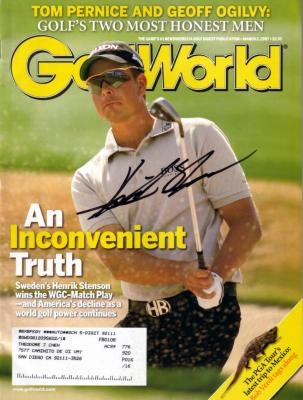 Henrik Stenson autographed 2007 Golf World magazine