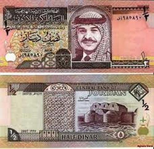 Banknotes; Jordan 1/2 dinar Banknote Middle East Paper money 1995.