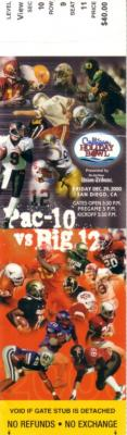 2000 Holiday Bowl ticket stub (Oregon 35 Texas 30)