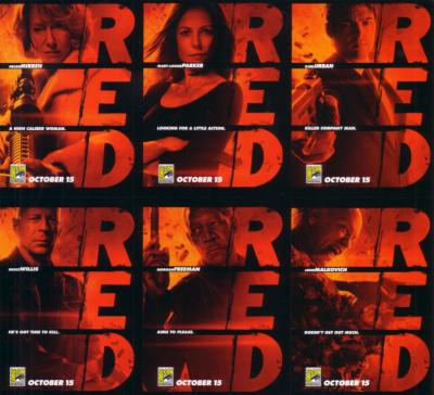RED movie 2010 Comic-Con EXCLUSIVE promo card set UNCUT SHEET