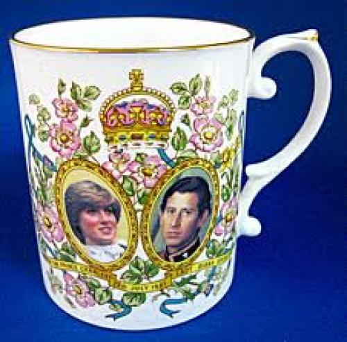 English Royalty Items;  White cup; Prince Charles and Princess Diana