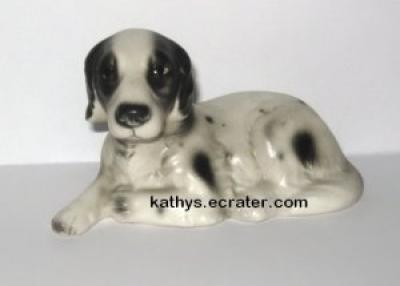 Vintage Black White English Setter Dog Animal Figurine