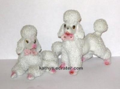 Vintage Japan 2 lot White/Pink Spaghetti Snow Poodles Animal Figurine