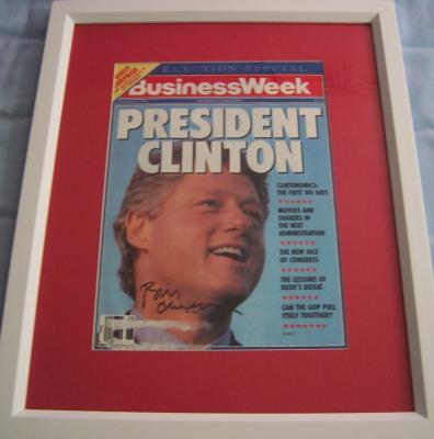 Bill Clinton autographed Business Week 1992 magazine cover matted & framed