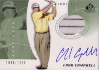 Chad Campbell certified autograph 2002 SP golf card with shirt swatch