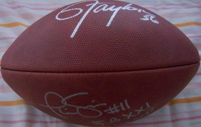 Phil Simms & Lawrence Taylor autographed NFL game model football
