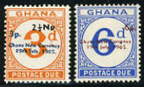 Postage due overprints, diff. colours; Year: 1965