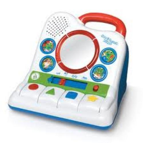 Pictures of leaf frog and VTech learning toys