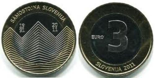 Coins; Slovenia 3€ commemorative coin 2011