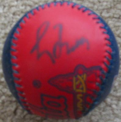 Greg Maddux autographed Atlanta Braves logo leather baseball