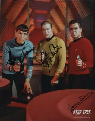 James Doohan Leonard Nimoy William Shatner autographed 8x10 Star Trek photo