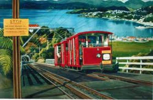 Kelburn cable tram arrives towards the summit in 1950s. Don McAra's painting