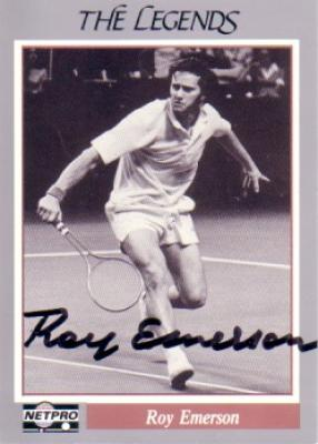 Roy Emerson autographed Netpro Legends tennis card