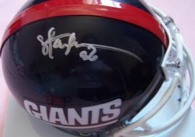 Phil Simms & Lawrence Taylor autographed New York Giants throwback mini helmet