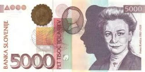 Banknotes; Slovenia 5000 Tolar banknotes