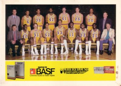 Los Angeles Lakers 1983-84 BASF 5x7 team photo card