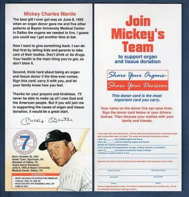 Mickey Mantle New York Yankees 1995 organ donor card