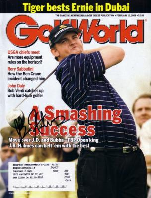 J.B. Holmes autographed 2006 Golf World magazine