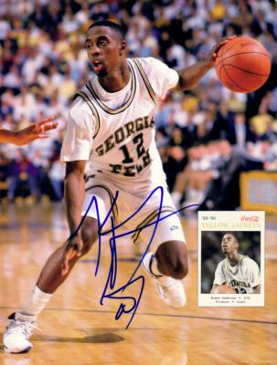 Kenny Anderson autographed Georgia Tech Beckett back cover photo