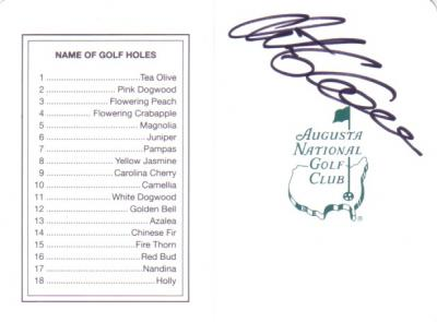 Retief Goosen autographed Augusta National Masters scorecard