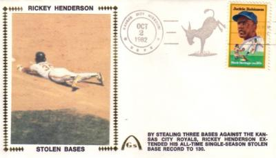 Rickey Henderson Stolen Base Record Oakland A&#039;s 1982 Gateway cachet envelope
