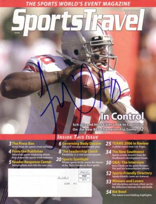 Troy Smith autographed Ohio State 2006 SportsTravel magazine cover