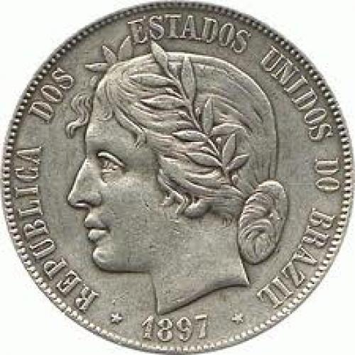 Coins;  Brazil 2000 reis Silver 917 coin obverse