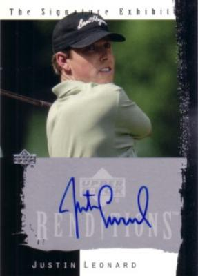 Justin Leonard certified autograph 2003 Upper Deck Renditions card