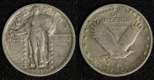 Coins; USA Standing Liberty -  1/4 Dollar 1920; coin