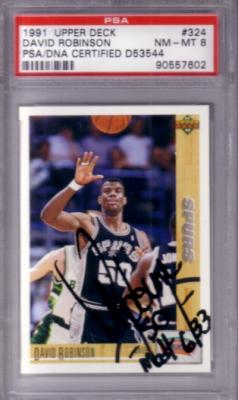 David Robinson autographed San Antonio Spurs 1991-92 Upper Deck card PSA/DNA PSA 8