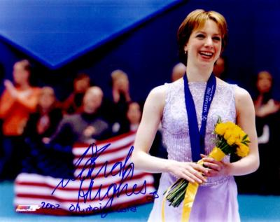 Sarah Hughes autographed 8x10 figure skating photo inscribed 2002 Olympic Gold