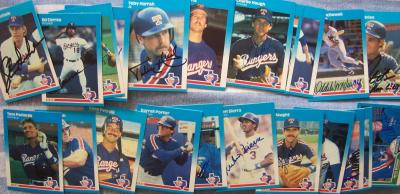 1987 Texas Rangers autographed Fleer team card set (Charlie Hough Ruben Sierra)
